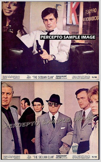 SICILIAN CLAN ~ Lot of TWO (2) Orig '70 Color Movie Photos ~ ALAIN DELON / ROD STEIGER