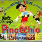 PINOCCHIO - 1940 Ex-Cond R71 DISNEY Animation Half-Sheet Movie Poster ~ CARTOON ART