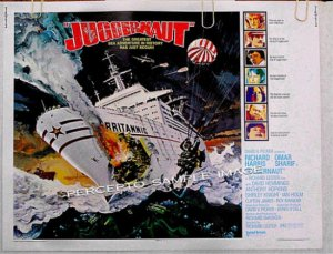 JUGGERNAUT ~ '74 Half Sheet Movie Poster ~ RICHARD HARRIS / OMAR SHARIF / ANTHONY HOPKINS