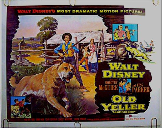 OLD YELLER ~ '74 Half-Sheet WALT DISNEY Movie Poster ~ TOMMY KIRK / DOROTHY McGUIRE