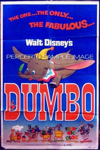 DUMBO ~ Ex-Cond Orig '76 1-Sheet Movie Poster ~ ANIMATION / WALT DISNEY CLASSIC / FLYING ELEPHANT