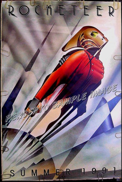 ROCKETEER ~ '91 Double Sided ADVANCE 1-Sheet Art Deco Movie Poster ~ WALT DISNEY / TIMOTHY DALTON