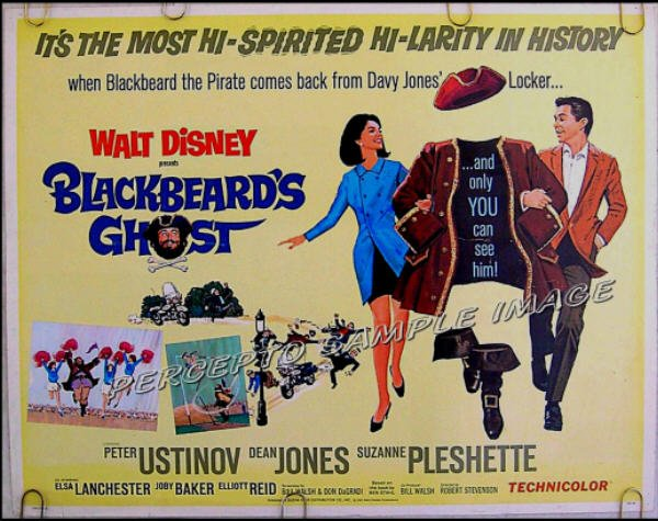 BLACKBEARD'S GHOST ~ WALT DISNEY 1968 Half-Sheet Movie Poster ~ DEAN JONES / SUZANNE PLESHETTE