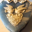 Handcrafted Heart Shape Kissing Doves Genuine Incolay Stone Vintage Jewelry Box