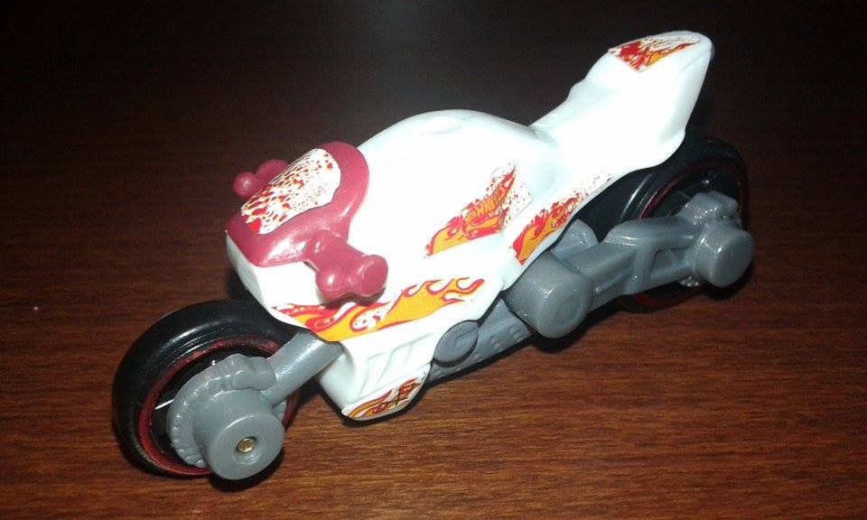 Hot Wheels-- white motorcycle