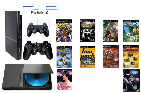"Slim Sony Playstation 2 ""Value Bundle"" - 12 Games, 2 Controllers and DVD Movie"