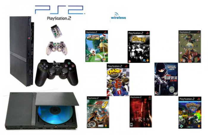 "Slim Sony Playstation 2 ""Wireless Bundle"" - 8 Games + Wireless Controller"