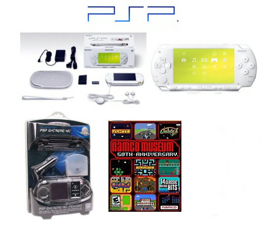 "Sony PSP ""Limited Edition"" Ceramic White ""Holiday Value Pack"" - 20 Games & PSP Car Kit"