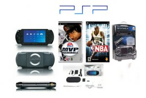 "Sony PSP ""Sports Bundle"" - 2 Sports Games, UMD Sampler Pack + PSP Car Kit & Other Accessories"