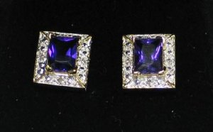 Amethyst & Diamond Earrings.