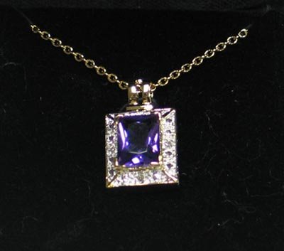 Amethyst & Diamond Earrings & Slider Pendant