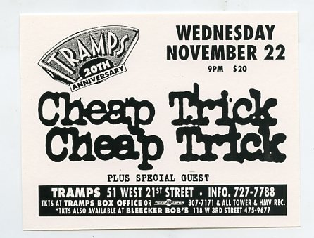 Cheap Trick 1995 Tramps NYC Concert Handbill