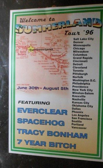 Summerland 1996 Everclear Spacehog Tracey Bonham 7 Year Bitch Concert Promo Tour Poster