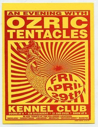 Ozric Tentacles 1994 SF Kennel Club Concert Flyer Handbill Card