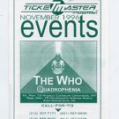 The Who 1996 Quadrophenia NY/NJ Event Concert Calendar Handbill
