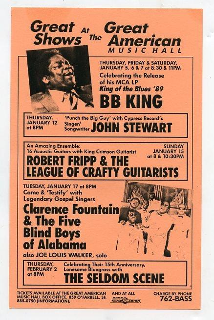 BB King Robert Fripp 1989 SF Concert Handbill