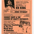BB King Robert Fripp 1989 SF Concert Handbill