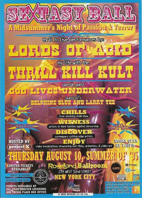 Lords of Acid Thrill Kill Kult 1995 NYC Concert Handbill Poster
