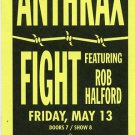 Anthrax Fight 1988 SF Warfield Concert Handbill