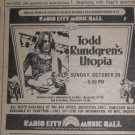 Todd Rundgren's Utopia 1974 Radio City Music Hall Newspaper Concert AD