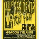 The Residents 2001 Beacon Theatre Concert Handbill