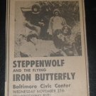Steppenwolf Iron Butterfly 1968 Baltimore Newspaper Concert AD