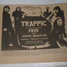 Traffic Free John Martyn 1973 Nassau Coliseum Newspaper Concert AD