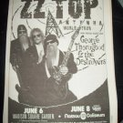 ZZ TOP George Thorogood 1994 NY Newspaper Concert Poster Type AD