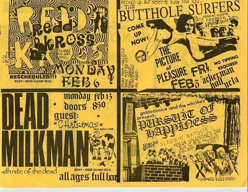 Redd Kross Butthole Surfers Circle Jerks 1989 Goldenvoice Concert Handbill