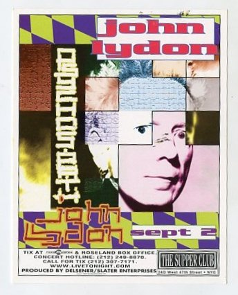 John Lydon 1997 Supper Club NYC Concert Handbill Card
