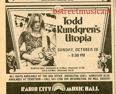 TODD RUNDREN UTOPIA 1974 Radio City Music Hall NYC Concert AD