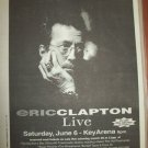 ERIC CLAPTON 1998 Seattle Newspaper Concert Poster Size AD FREE SHIPPING!