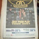 AEROSMITH 2001 Newspaper Concert Poster AD FREE SHIPPING!
