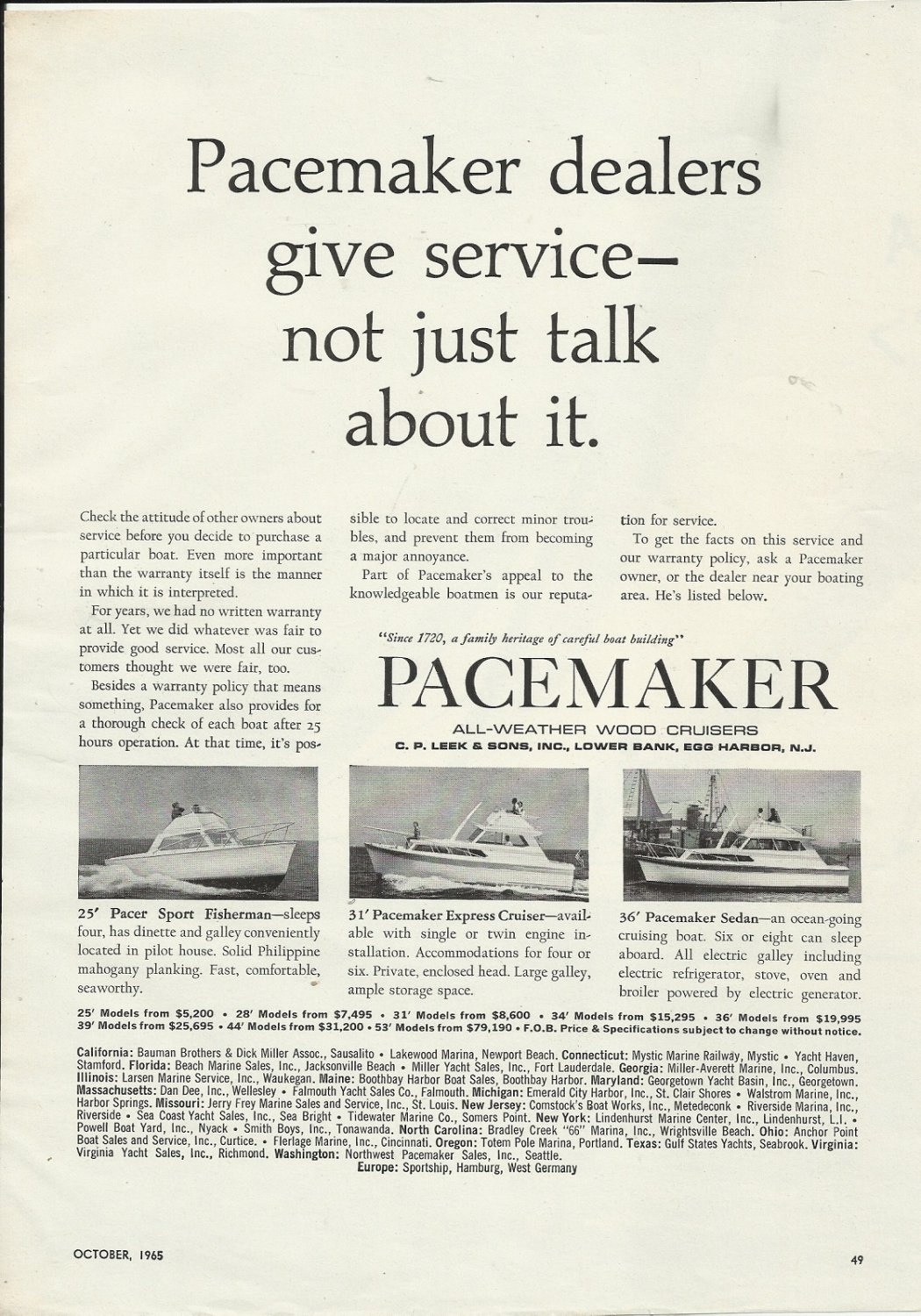 1965 Pacemaker Yachts Ad- The Pacemaker 25'- 31' & 36'