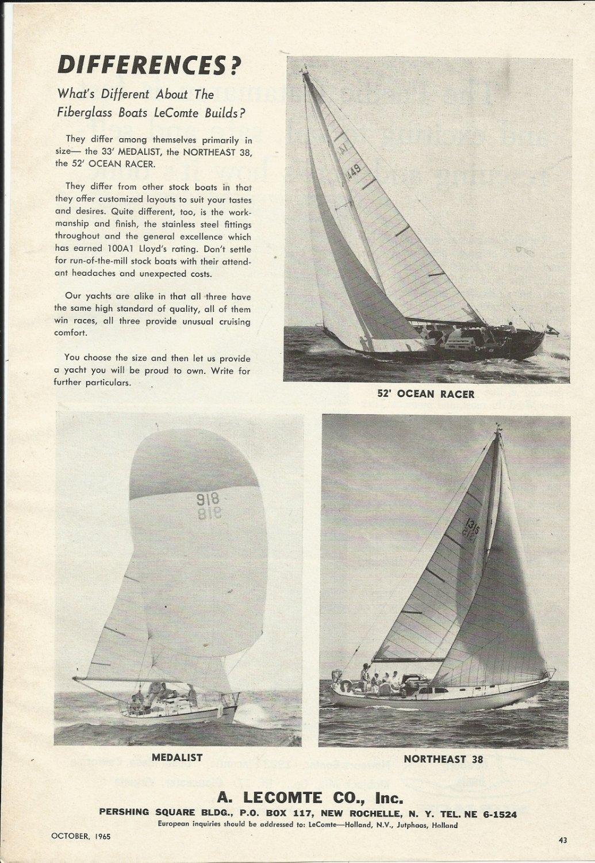 1965 A. LeComte Co. Inc Sailboats Ad-Medalist- Northeast 38- 52' Racer