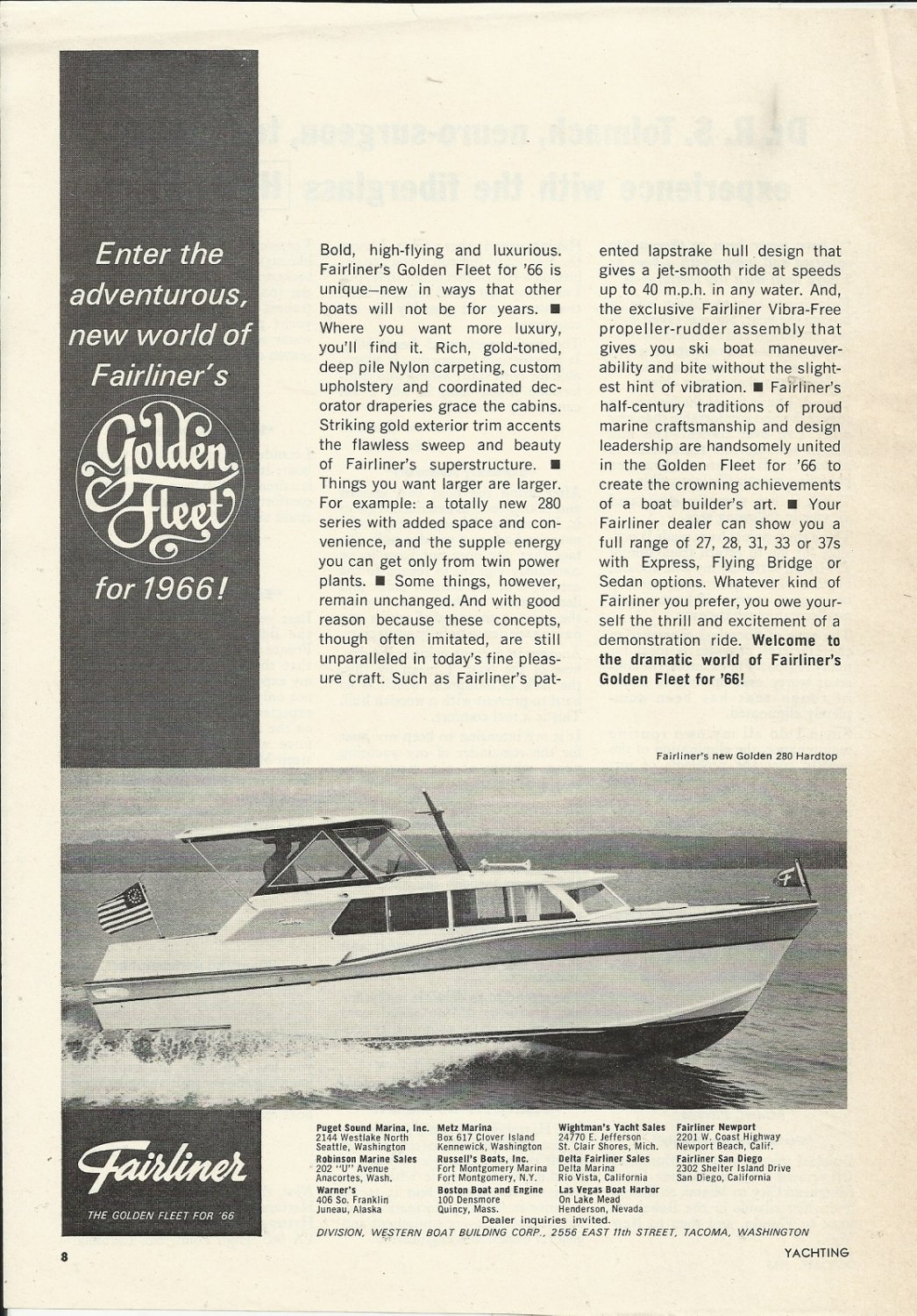 1965 Western Boat Building Co. Ad-The 1966 Fairliner