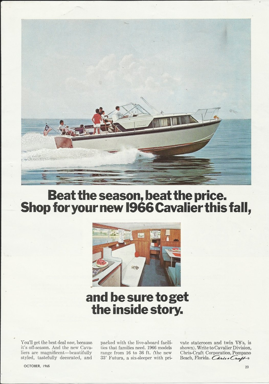1965 Chris- Craft Boats Color Ad- The 1966 33' Cavalier Futura
