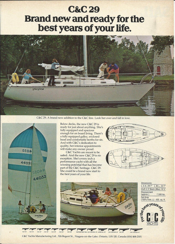 1977 C & C Yachts Color Ad- The C & C 29