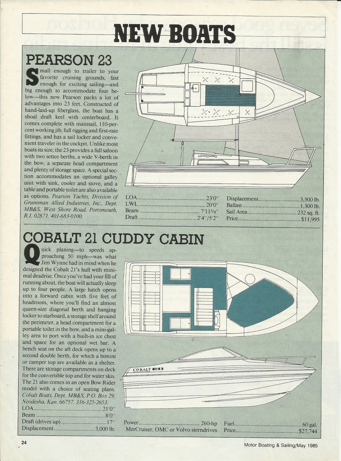 1985 Cobalt 21 & Pearson 23 New Boats Reviews & Specs