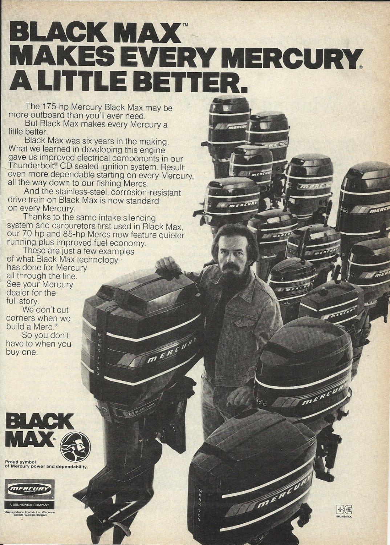 1977 Mercury Motors Ad- The Black Max Outboard motors