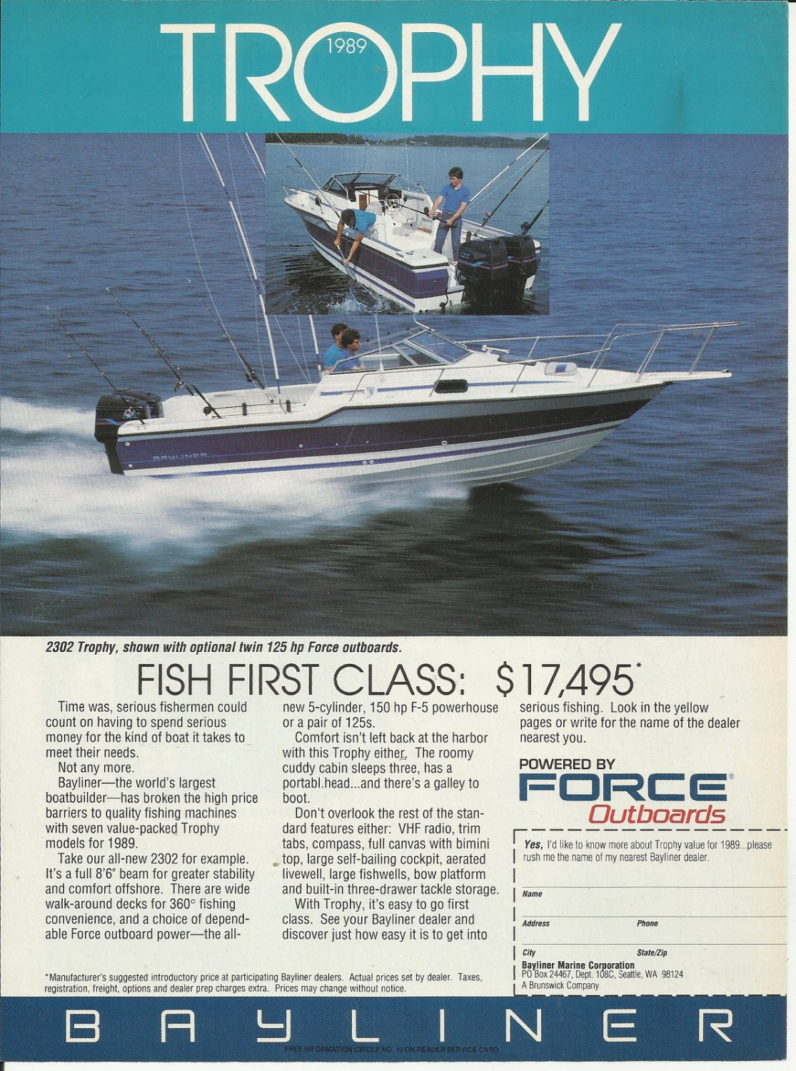 1989 Bayliner Marine Corp Color Ad- The 2302 Trophy