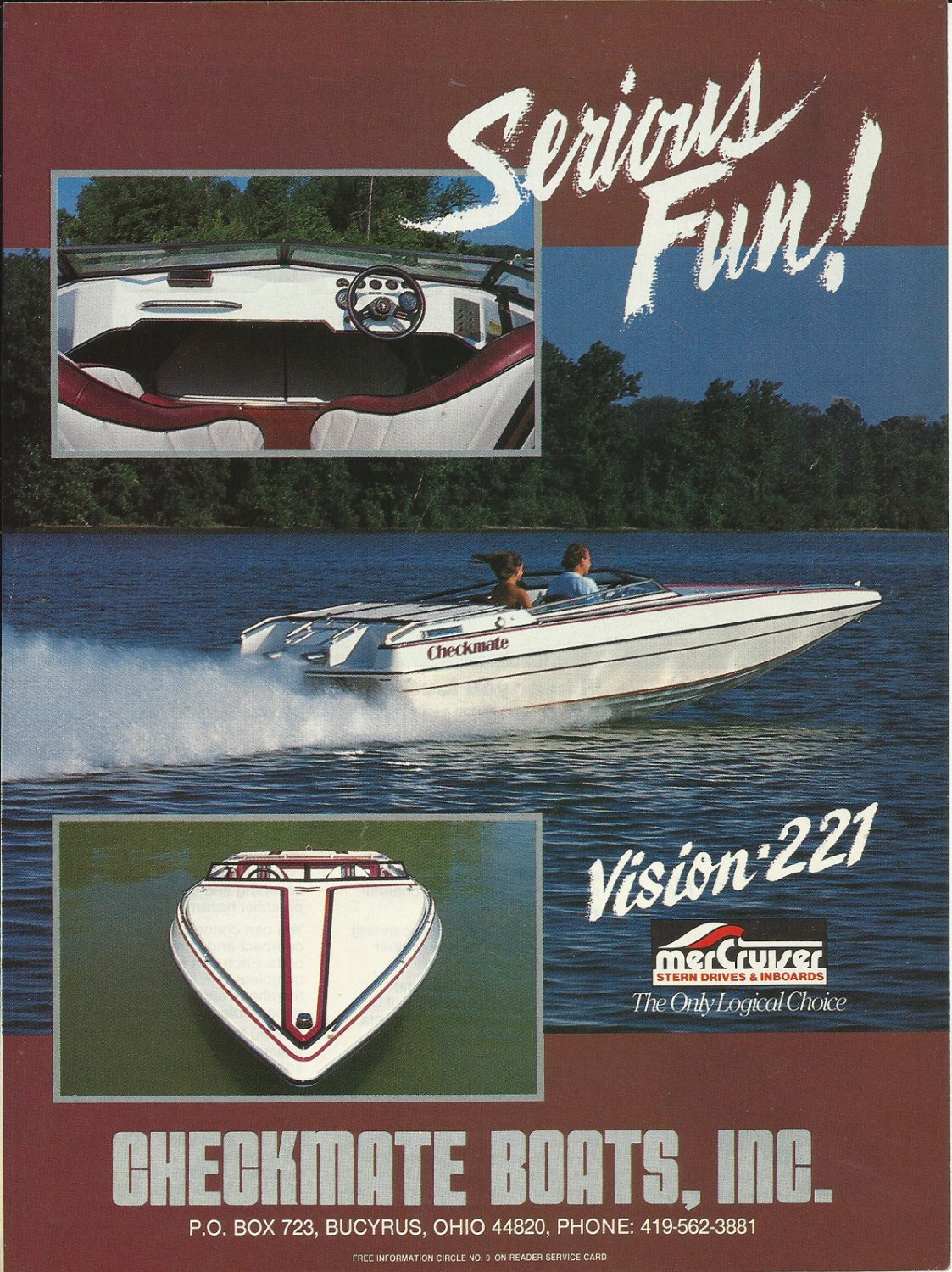 1989 Checkmate Boats Color Ad- The Vision 221