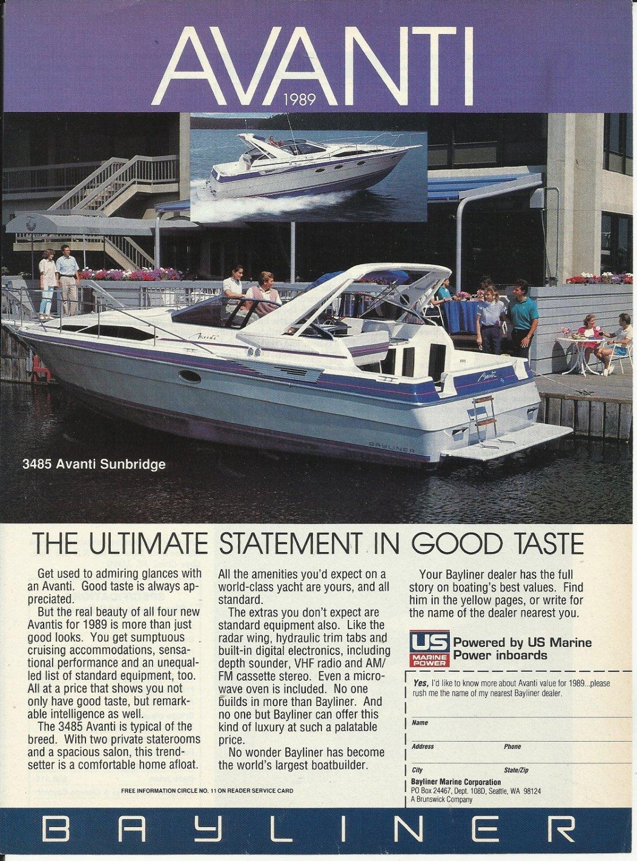 1989 Bayliner Marine Corp Color Ad- The 3485 Avanti Sunbridge