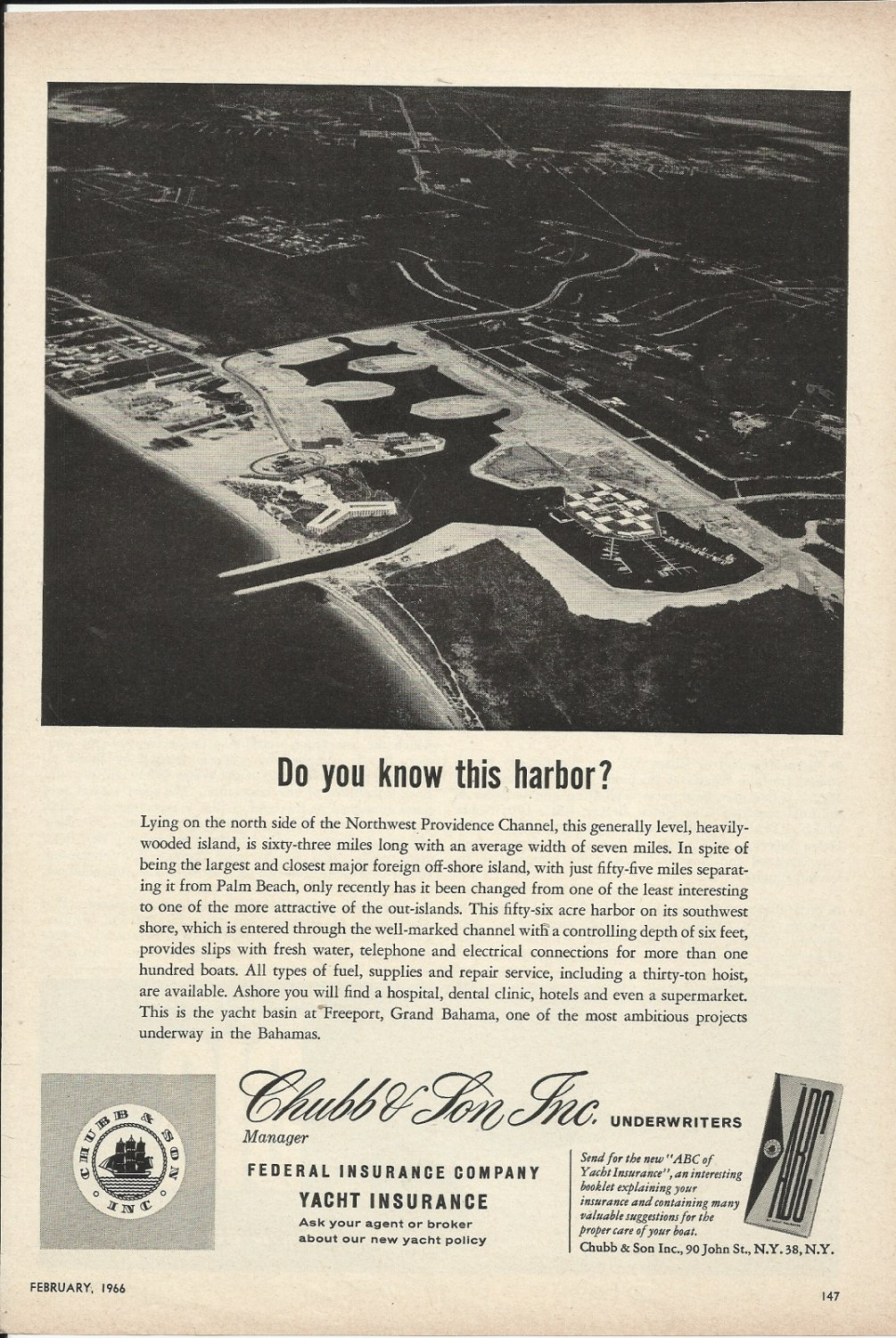 1966 Chubb & Son Insurance Ad-Great Aerial Photo of Freeport Grand Bahama