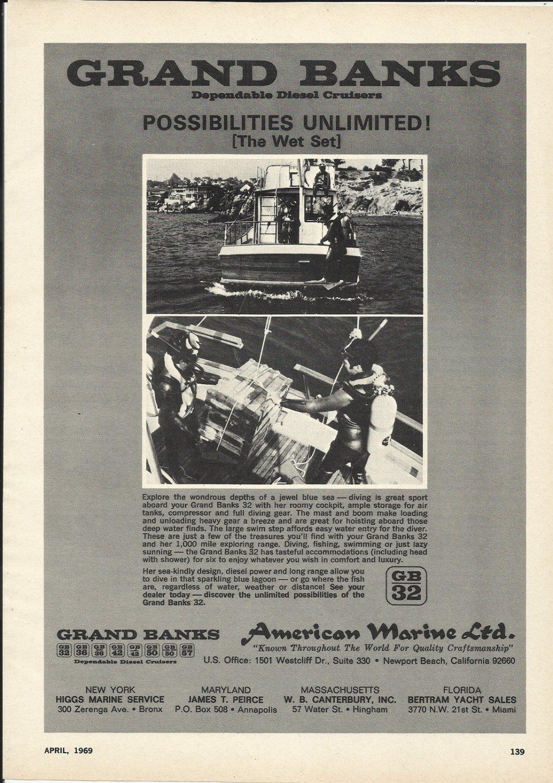 1969 American Marine LTD Ad- Grand Banks 32 Diesel Cruiser