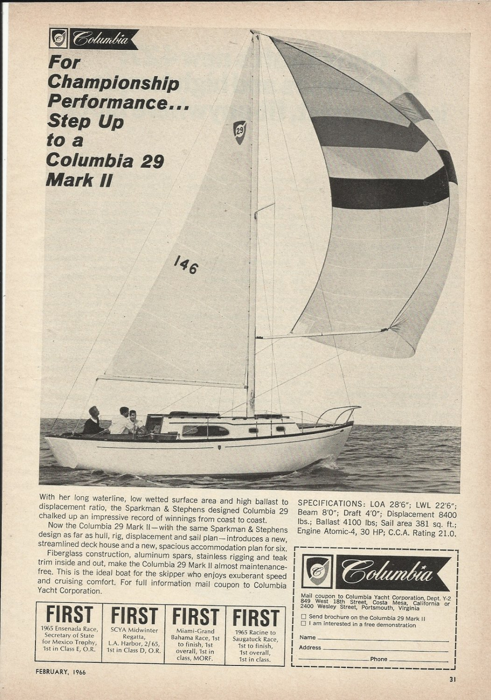 1966 Columbia Yacht Corp Ad- The 29' Mark II- Specs