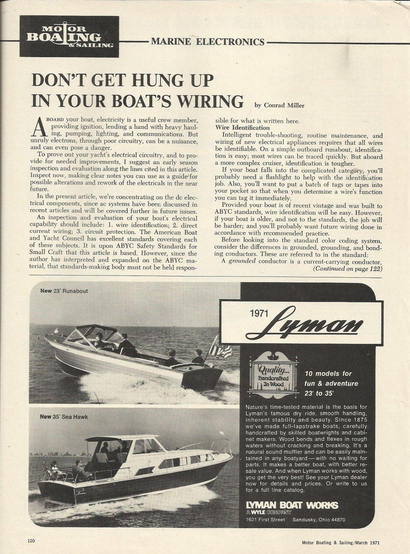 1971 Lyman Boat Works Ad- 23' Runabout & 35 Sea Hawk