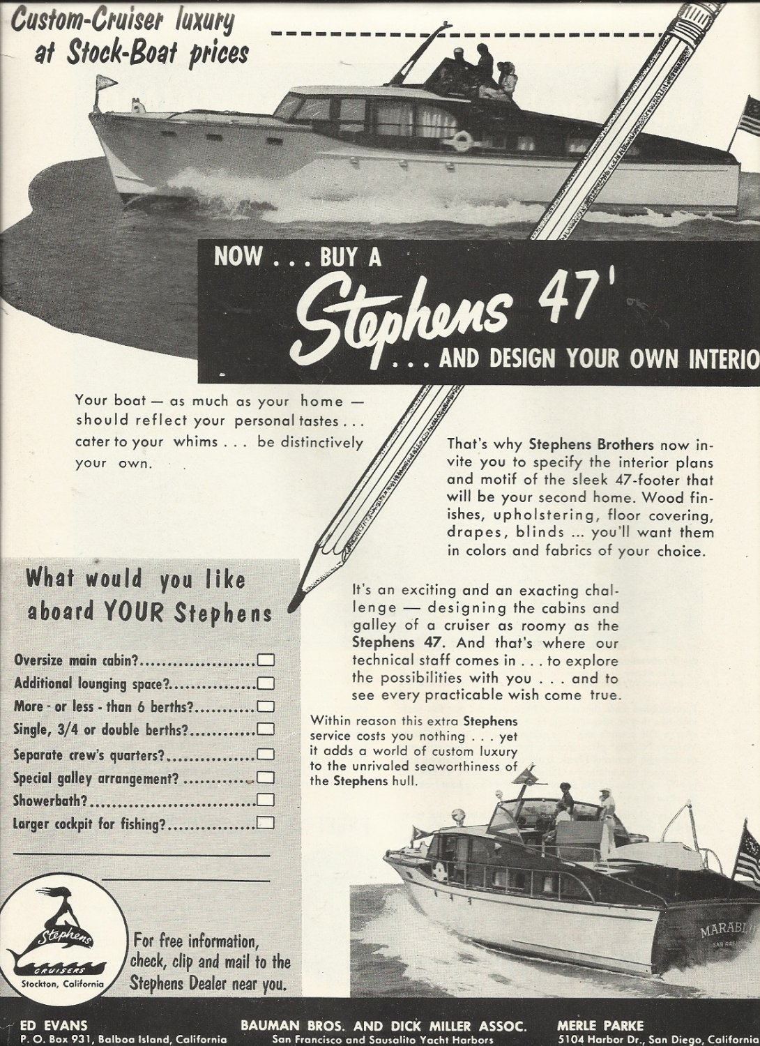 1955 Stephens Cruisers Ad- The Stephens 47'