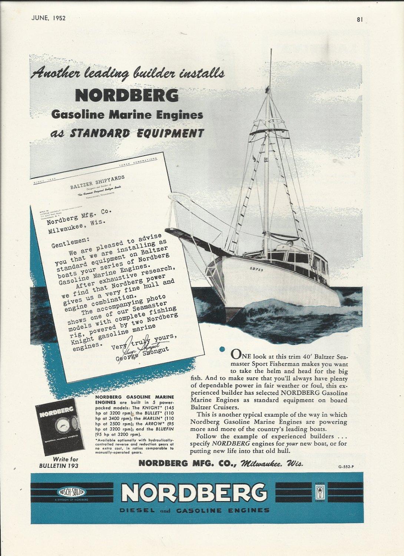 1952 Nordberg Marine Engines Ad- 40' Baltzer Yacht