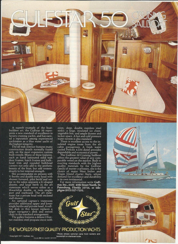 1977 Gulfstar yachts Color Ad- The Gulfstar 50'
